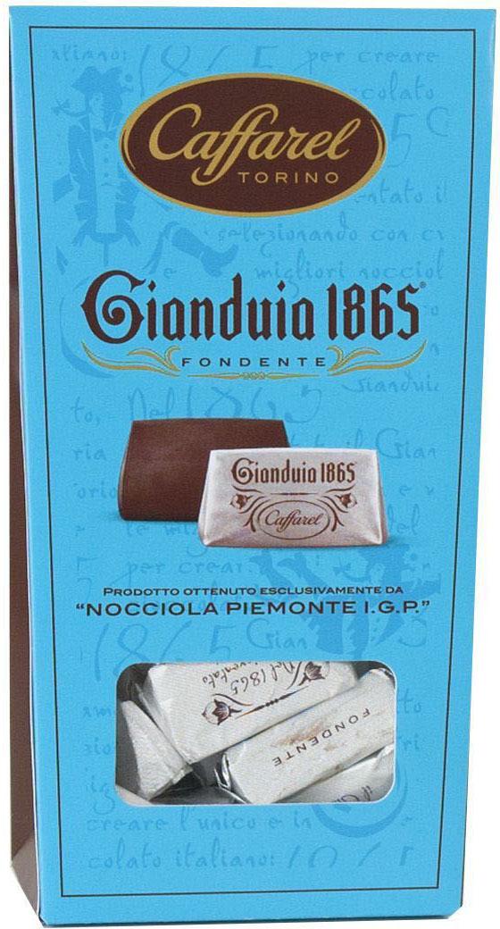 Caffarel Джандуйа 1865 конфеты шоколадные из пасты джандуйа из темного шоколада с лесными орехами, 150 г мини пирожное шоколадное jacquet brownie с лесными орехами 5x30 г