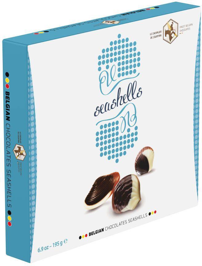 Le Chevalier de Courtrai Морские Ракушки конфеты шоколадные с начинкой пралине, 195 г шоколадные годы конфеты ассорти 190 г