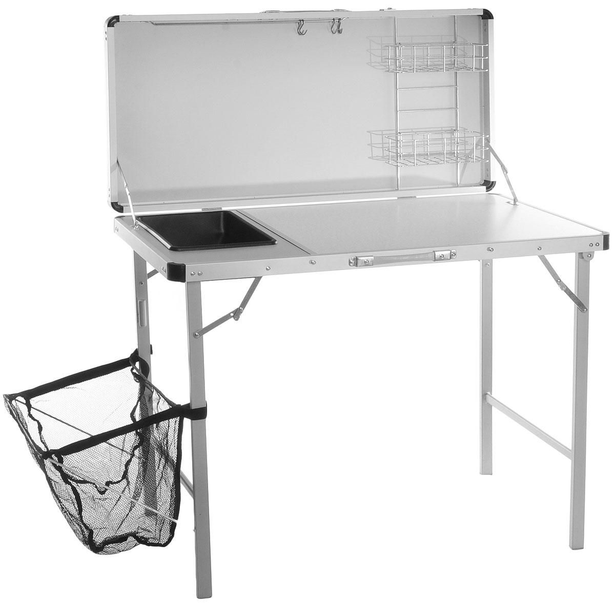 Стол складной Canadian Camper CC-TA1000, с раковиной, 100 см х 50 см х 77/193 см95473-366-00Складной стол Canadian Camper CC-TA1000 прекрасно подойдет для кемпинга и отдыха на природе. Столпредставляет собой мини-кухню с двумя рабочими поверхностями: обеденный стол и разделочный стол сминимойкой, полками для посуды и рейлингом с крючками для подвески столовых приборов. Также имеетсядополнительная книжная полка, емкость для сбора мусора, стойка для крепления лампы.Каркас и стойки изготовлены из алюминия. Стол легко собирается и разбирается. Минимальный размер всложенном состоянии обеспечивает удобное хранение и компактную перевозку. Стол приспособлен длянахождения на улице, устойчив, отличается прочностью.Максимальная нагрузка: 40 кг.Размер стола (в разобранном виде): 100 см х 50 см х 77/193 см.Размер стола (в собранном виде): 105,5 см х 55 см х 14 см.
