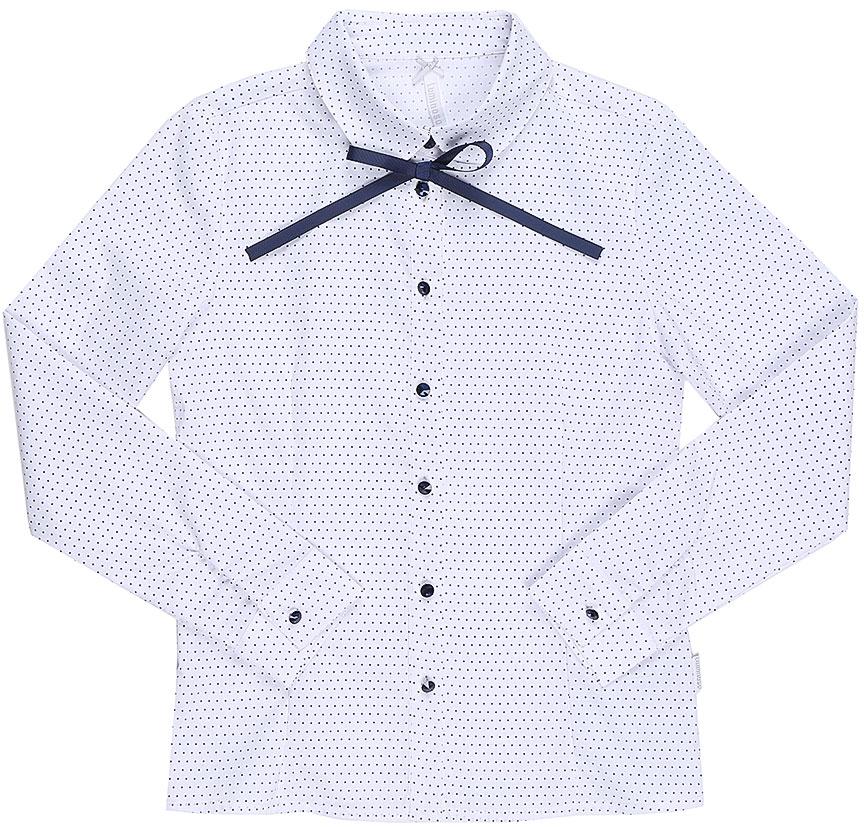 Блузка для девочки Luminoso, цвет: белый, темно-синий. 728253. Размер 152728253Классическая детская блузка Luminoso выполнена из хлопка и полиэстера с добавлением эластана. Модель застегивается на пуговицы, имеет длинные рукава с манжетами на пуговицах и отложной воротник с декоративной лентой контрастного цвета. Блузка дополнена принтом в мелкий горошек.