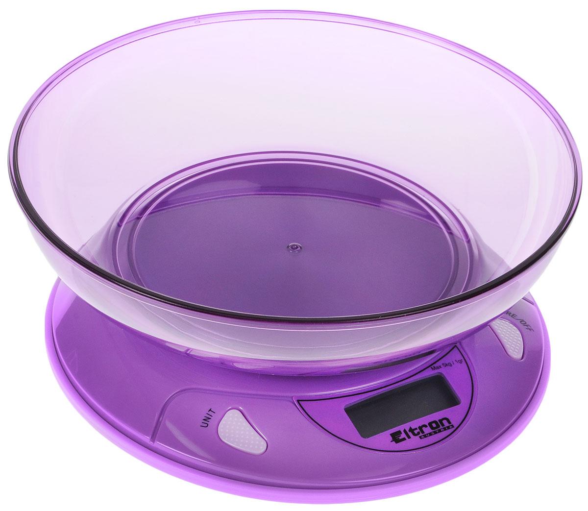 Весы кухонные Eltron, электронные, с чашей, цвет: фиолетовый, до 5 кг9259EL_фиолетовыйКухонные весы Eltron изготовлены из высококачественного пластика. Изделие оснащено акриловой панелью и съемной чашей. Весы имеют цифровой дисплей с функцией автоматического отключения. На корпусе расположены кнопки управления: кнопка включения/отключения/обнуления веса и кнопка переключения единицы измерения - On/Tare/Off и Unit. Панель весов имеет силиконовые ножки, что предотвратит скольжение прибора по поверхности.Кухонные весы Eltron пригодятся на любой кухне и станут прекрасным дополнением к набору вашей мелкой бытовой техники. Используя их, вы сможете готовить блюда, точно следуя предложенной рецептуре, что немаловажно при приготовлении сложных блюд, соусов и выпечки.Оригинальные, с ярким дизайном, такие весы украсят любую кухню и принесут радость каждой хозяйке. Нагрузка: 1 - 5000 г.Питание: ААА х 2 (входят в комплект).Размер весов: 19,5 х 19,5 х 4 см.Размер чаши: 21,5 х 21,5 х 4,5 см.Единицы измерения: граммы, фунты, унции.
