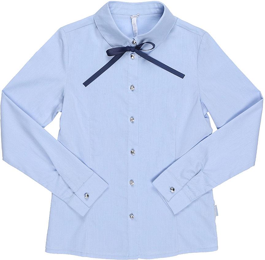 Блузка для девочки Luminoso, цвет: голубой, темно-синий. 728257. Размер 146728257Классическая детская блузка Luminoso выполнена из хлопка и полиэстера с добавлением эластана. Модель застегивается на пуговицы, имеет длинные рукава с манжетами на пуговицах и отложной воротник, дополненный бантом.