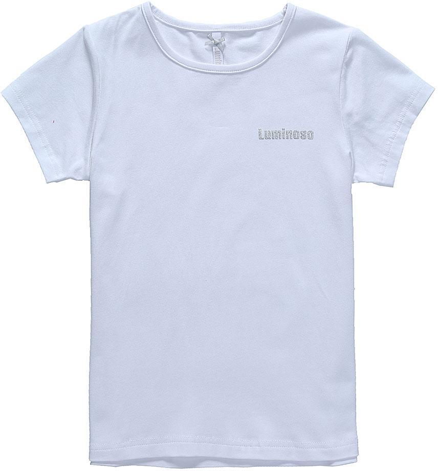 Футболка для девочки Luminoso, цвет: белый. 728267. Размер 134728267Базовая футболка для девочки Luminoso выполнена из хлопка с добавлением эластана. Модель имеет короткие рукава и круглый вырез горловины. Футболка на груди дополнена надписью с названием бренда.