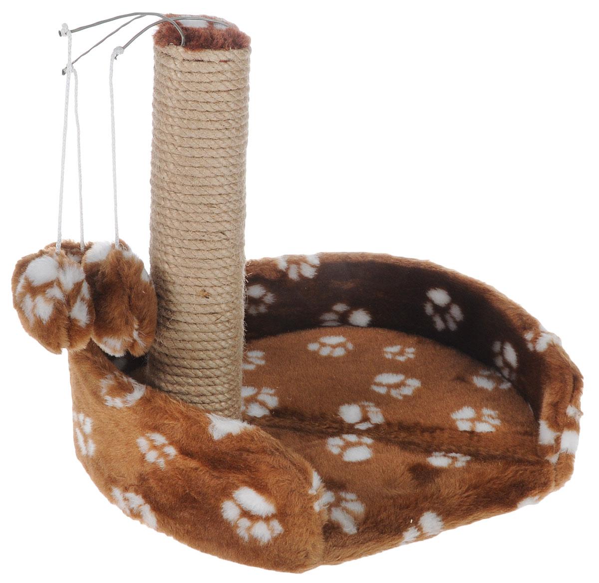 Когтеточка для котят Меридиан, с лежанкой, цвет: коричневый, белый, 34 х 26 х 34 смК705Ла_коричневый, белыйКогтеточка Меридиан поможет сохранить мебель и ковры в доме от когтей вашего любимца, стремящегося удовлетворить свою естественную потребность точить когти. Когтеточка изготовлена из ДВП, ДСП, искусственного меха и джута. Товар продуман в мельчайших деталях и, несомненно, понравится вашему котенку. Изделие имеет лежанку с высокими бортиками, которая идеально подойдет для отдыха животного. Подвесные игрушки привлекут внимание питомца. Всем кошкам необходимо стачивать когти. Когтеточка - один из самых необходимых аксессуаров для кошки. Для приучения к когтеточке можно натереть ее сухой валерьянкой или кошачьей мятой. Когтеточка поможет вашему любимцу стачивать когти и при этом не портить вашу мебель.