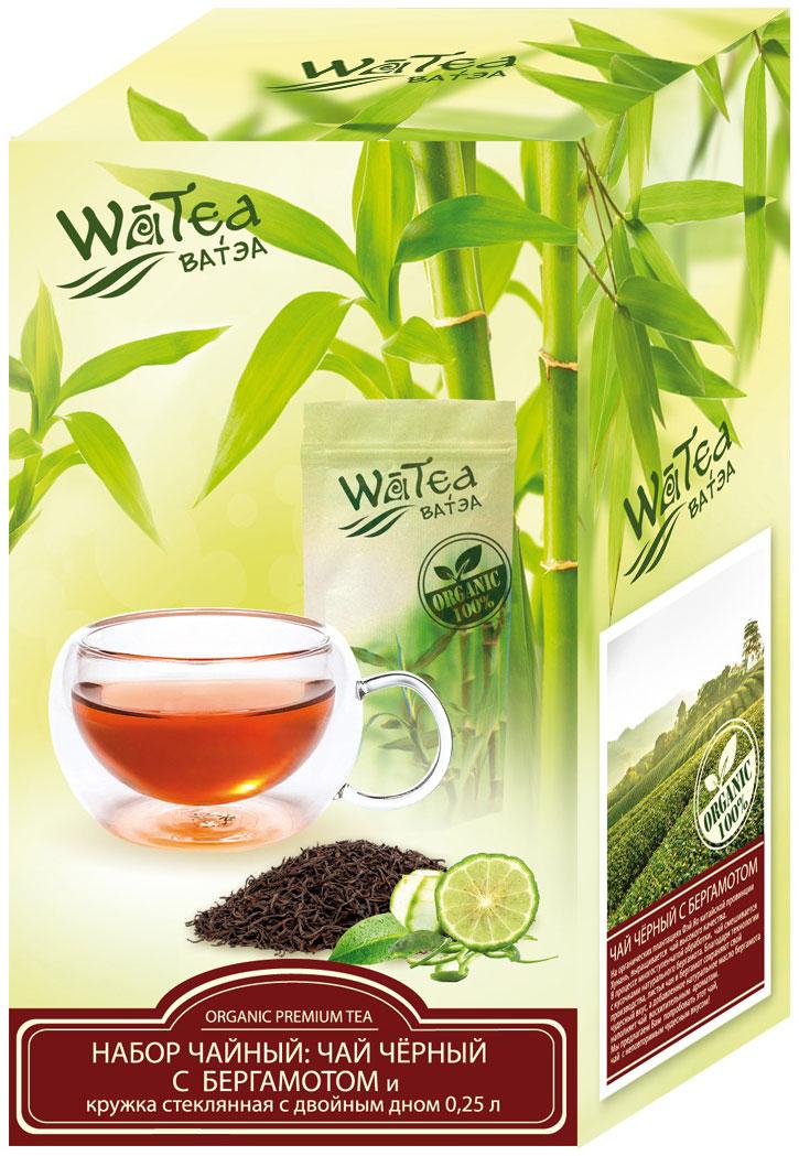 Watea подарочный набор черный чай с бергамотом, с кружкой, 90 г чай черный с бергамотом альманах 25 пакетиков по 2г