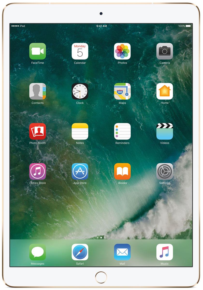 Apple iPad Pro 10.5 Wi-Fi + Cellular 64GB, GoldMQF12RU/AКакая бы задача перед вами ни стояла, iPad Pro готов за неё взяться. Он мощнее многих ноутбуков и при этом гораздо удобнее. Дисплей Retina получил впечатляющие возможности и стал потрясающе быстро отзываться на касания.А ещё на устройстве установлена iOS - самая передовая мобильная операционная система в мире. У iPad Pro есть всё, что вам нужно от современного компьютера. И даже больше.Multi-Touch на iPad всегда производил большое впечатление. А новый дисплей Retina поднимает планку ещё выше. Он не только ярче и отражает меньше бликов. Благодаря новой технологии ProMotion существенно выросла и скорость его отклика. Поэтому неважно, что вы делаете - пролистываете страницу в Safari или играете в ресурсоёмкую 3D-игру, - iPad Pro мгновенно отзывается на каждое касание.Дисплей Retina на новом iPad Pro работает на базе технологии ProMotion, которая поддерживает частоту обновления в 120 Гц. И это невероятно красиво. Фильмы и видео смотрятся просто потрясающе, графика в играх буквально летает - без артефактов и сбоев. А при касании дисплея пальцами или Apple Pencil устройство реагирует молниеносно.Процессор A10X Fusion с 64-битной архитектурой и шестью ядрами обеспечивает вас потрясающей мощью. Вы сможете на ходу обрабатывать видеоролики с разрешением 4K. Делать рендеринг сложных 3D-моделей. Открывать большие документы и добавлять свои зарисовки. Всё очень быстро и легко. При этом iPad Pro по-прежнему будет работать без подзарядки целый день.iOS раскрывает способности iPad, делая его ещё более удобным и полезным устройством. Новые функции системы помогают по-другому взглянуть на решение привычных задач. Многое можно настроить на свой вкус. Так что теперь у вас есть все возможности для покорения новых высот.Невероятная производительность, передовой дисплей, две камеры, сверхскоростная беспроводная связь и аккумулятор на целый день работы - всё это умещается в тонком и изящном корпусе iPad Pro. Поэтому вы можете брать ег