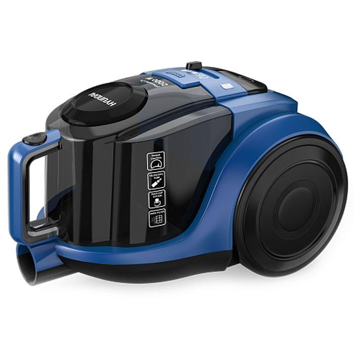 Hyundai H-VCC05, Black Blue пылесосH-VCC05С эргономичным пылесосом Hyundai H-VCC05 вы сможете тщательно и быстро привести в порядок любое помещение.Контейнер пылесоса обладает съемной капсулой - система Dust-Cup - для удобной чистки пылесборникаОсновным фильтром выступает специальная циклоническая конструкция контейнера, в которой пыль и грязь оседает в контейнере. Благодаря конструкции мощность всасывания остается постоянно высокой.Прибор оснащен регулятором мощности всасывания на корпусе. Контроль мощности обеспечивает бережный уход за предметами интерьера. Включение и выключение прибора, смотка шнура осуществляются с помощью отдельных кнопок.