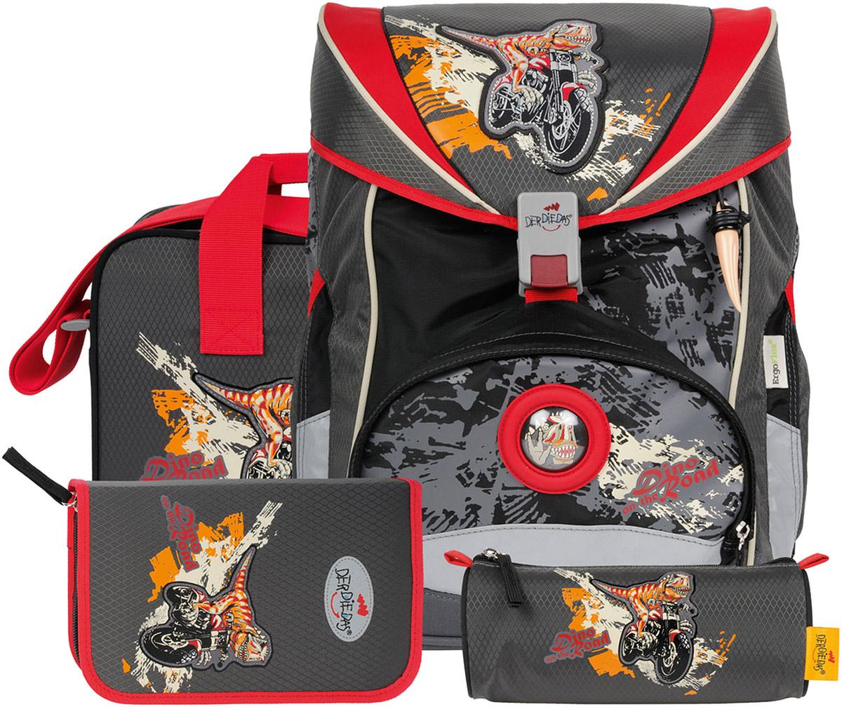DerDieDas Ранец школьный Ergoflex Динозавр-байкер с наполнением 4 предмета000405-032Отличный ортопедический ранец DerDieDas Динозавр-байкер предназначен для мальчиков. Мальчишки очень любят все сказочное и необычное. Немецкая компания учла это и создала оригинальный школьный ранец , украшенный изображением динозавра, мчащегося на мотоцикле. Дополняет общую фантазийную картину интересный брелок в виде большого зуба на лицевой части рюкзака. Темные оттенки, в которых выполнена эта модель очень практичны для активных непосед. Учитывая регулярность использования ранца и сопутствующих предметов, в таком же дизайне выполнены пеналы, а также спортивная сумка. В комплект входит удобная папка для бумаг.Для того, чтобы ребенок чаще носил рюкзак на спине, формируя тем самым правильную осанку, разработчики разместили ручку под неудобным углом и укоротили ее. Широкие лямки и нагрудный пояс отлично фиксируют ранец и не дают ему болтаться даже во время бега и при этом не давят. Все замки надежны и просты в использовании. DerDieDas Ergoflex - это лёгкий и практичный ранец для учеников школы. Ортопедическая спинка ранца помогает распределить вес и сохранить спину вашего ребенка от искривления позвоночника. Лямки S-образной формы из мягкого воздухопроницаемого материала с внутренней стороны, позволяют ранцу сидеть правильно не нарушая кровообращение. Специальные прорези для подгонки по росту продлят срок службы ранца до конца учебы в начальной школе, на спинке присутствуют размеры XS, S, M, L. Благодаря ремешку в зоне грудного отдела и съемному ремню в поясничной зоне, ранец плотно фиксируется к спине дополнительно помогая распределить вес равномерно, не болтается во время ходьбы или бега. Дышащая мягкая ткань на спинке и лямках с внутренней стороны впитывает влагу и сохраняет спину вашего ребенка сухой. 10% ранца покрывает светоотражающий материал Reflexite, ребенка с таким ранцем хорошо видно в темное время суток. Материал полиэстер очень прочный, не рвется, не пачкается, не промок