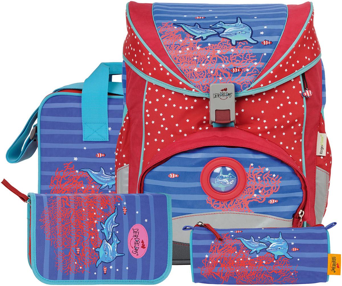 DerDieDas Ранец школьный Ergoflex Дельфины с наполнением 4 предмета ранцы derdiedas ранец ddd exklusiv safety ergoflex с наполнением подсолнух