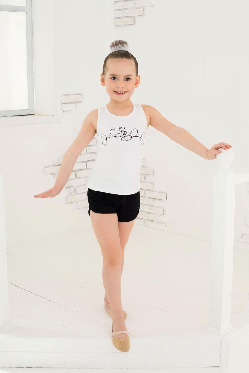 Майка для девочки Luminoso, цвет: белый. 734514. Размер 98/104734514Майка для девочки Luminoso изготовлена из хлопка с добавлением эластана. Модель без рукавов имеет круглый вырез горловины. На груди майка дополнена узором.
