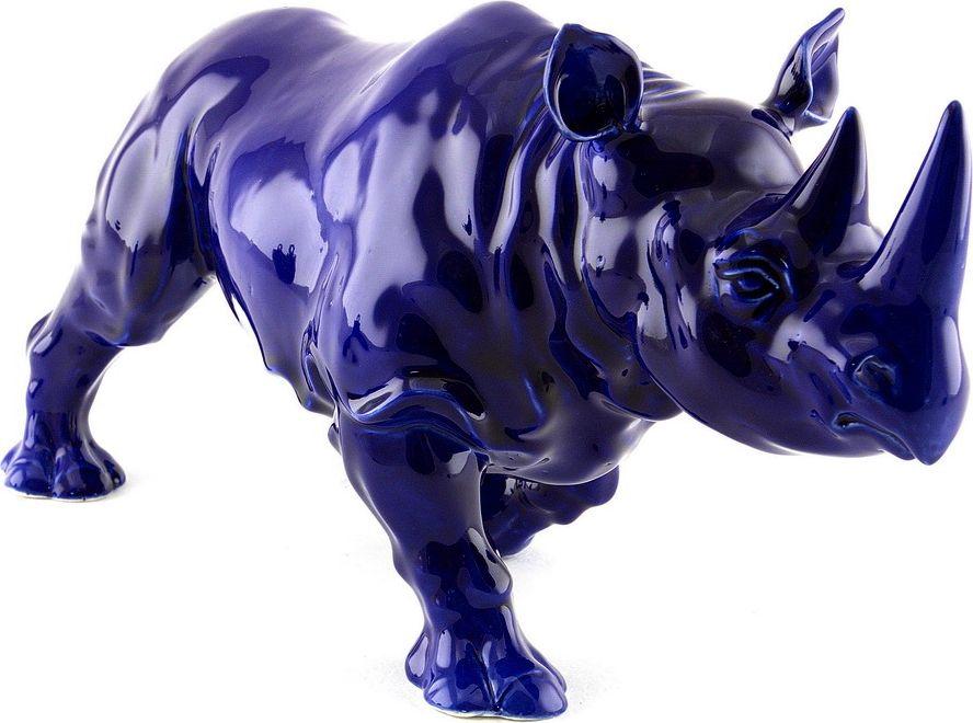 Скульптура ZORA Носорог. Охранный талисман, цвет: синий, 32 х 18 см. Авторская работа. ZS-RBLU-18ZS-RBLU-18Керамика Zoraтри обжига,ручная работа,смешанные техники,напыление,ручная роспись,глазурь по керамике,пигменты, абажур из ткани шинц