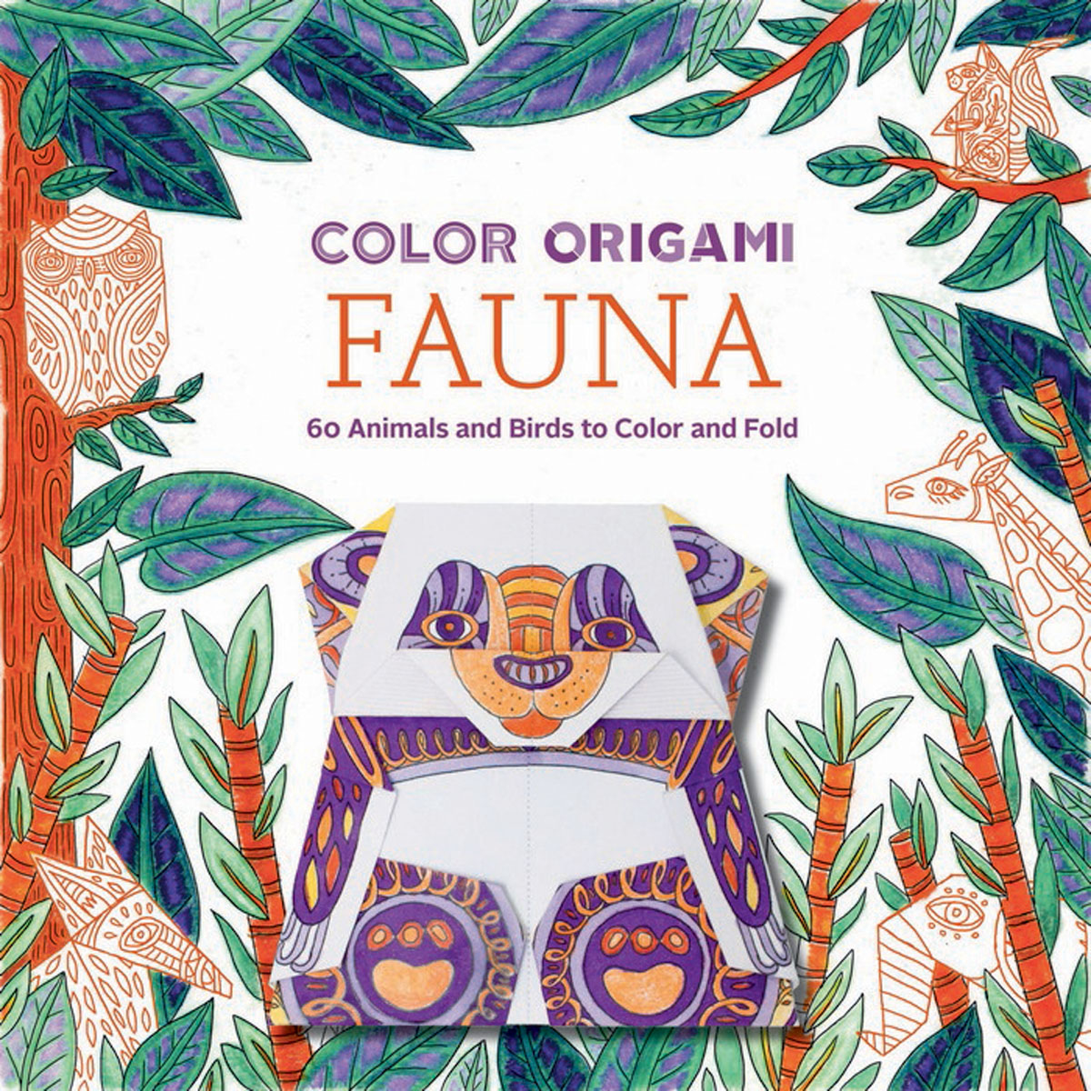 Color Origami: Fauna (Adult Coloring Book) coloring of trees