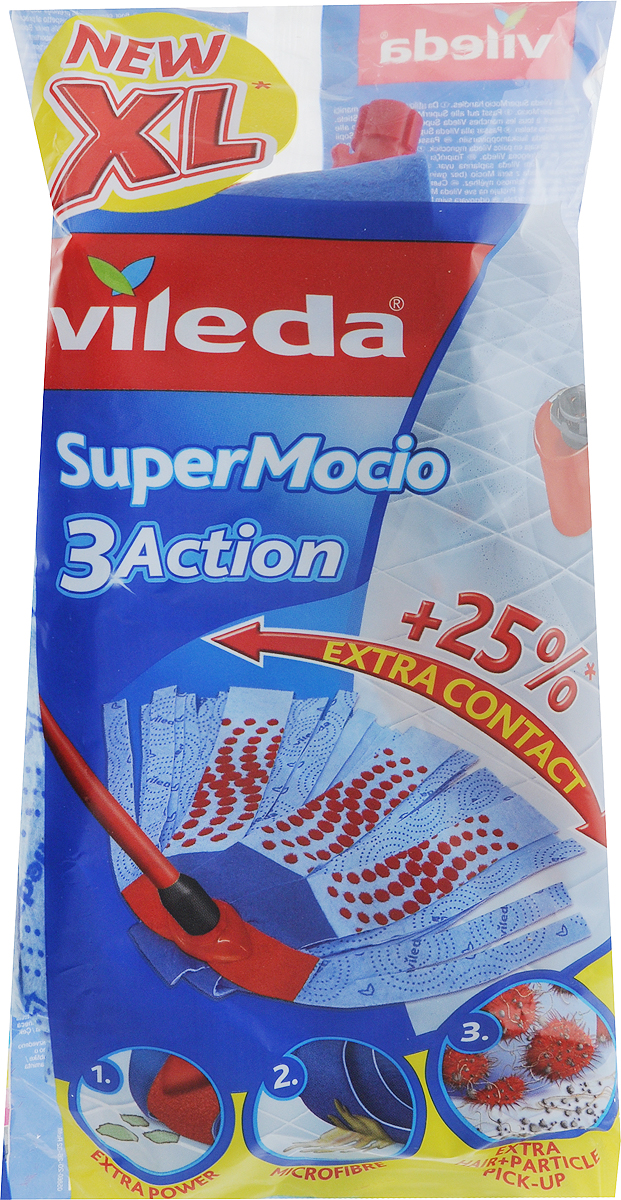 Насадка для ленточной швабры Vileda Super Mocio 3 Action32110721Сменная насадка Vileda Super Mocio 3 Action предназначена для влажной уборки любых типов напольных покрытий, в том числе паркета и ламината. Она станет незаменимым атрибутом любой уборки. Благодаря специальному абразивному материалу и материалу с тиснением, насадка эффективно собирает крупный и мелкий мусор, удаляет стойкие загрязнения. Микроволокно данной насадки обладает хорошей впитывающей способностью. Насадка крепится к швабре при помощи защелкивания.Насадку можно стирать в стиральной машине. Характеристики:Материал: 83% целлюлоза, 16% полиэстер, 1% полиамид. Длина насадки: 25 см. Производитель: Германия. Vileda - торговая марка немецкого концерна Freudenberg, выпускающего первоклассный уборочный инвентарь, как для уборки дома, так и для профессиональной уборки.Концерн Freudenberg, частью которого является Vileda, существует уже 161 год, торговая марка Vileda - 62 года. В настоящее время торговая марка Vileda - является номером один на европейском рынке в области аксессуаров для уборки.Товары под маркой Vileda созданы, что бы помочь вам сократить время на уборку и сделать работу по дому максимально приятной и легкой.Уважаемые клиенты! Обращаем ваше внимание на то, что упаковка может иметь несколько видов дизайна. Поставка осуществляется в зависимости от наличия на складе.