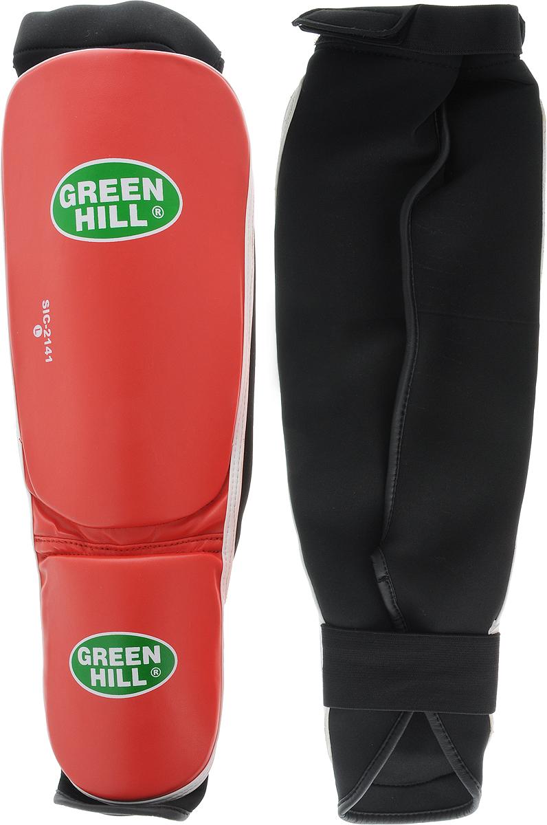 Защита голени и стопы Green Hill Cover, цвет: красный, белый. Размер L. SIC-2141SIC-2141Защита голени и стопы Green Hill Cover с наполнителем, выполненным из полипропилена, необходима при занятиях спортом для защиты пальцев и суставов от вывихов, ушибов и прочих повреждений. Накладки выполнены из высококачественной искусственной кожи. Они прочно фиксируются за счет эластичной ленты и липучек.Длина голени: 29 см.Ширина голени: 15,5 см.Длина стопы: 15 см.Ширина стопы: 11 см.