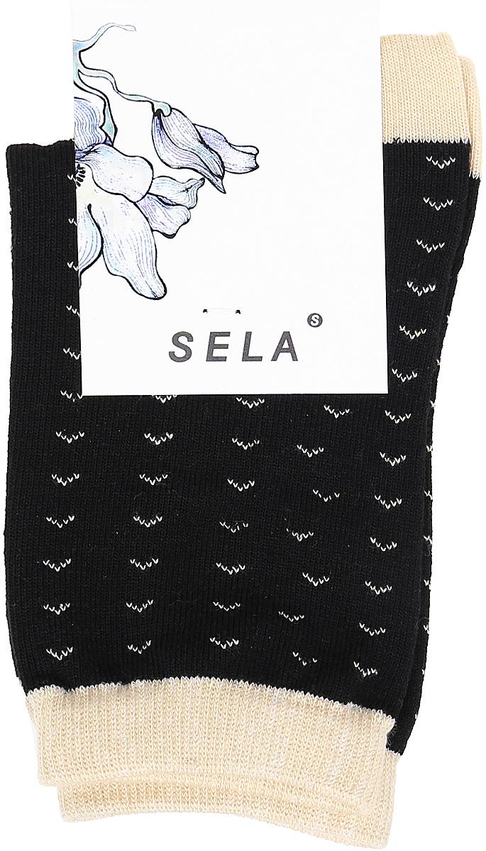 Носки женские Sela, цвет: черный. SOb-154/053-7331. Размер 21/23SOb-154/053-7331Удобные женские носки Sela изготовлены из высококачественного приятного на ощупь материала. Благодаря содержанию мягкого хлопка в составе, кожа сможет дышать, а эластан позволяет носкам легко тянуться, что делает их комфортными в носке. Эластичная резинка плотно облегает ногу, не сдавливая ее, и обеспечивает комфорт и удобство. Уважаемые клиенты! Размер, доступный для заказа, является длиной стопы.