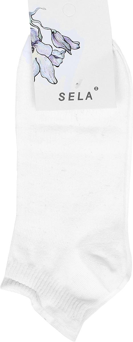 Носки женские Sela, цвет: белый. SOb-154/058-7371. Размер 21/23SOb-154/058-7371Укороченные женские носки Sela изготовлены из высококачественного приятного на ощупь материала. Благодаря содержанию мягкого хлопка в составе, кожа сможет дышать, а эластан позволяет носкам легко тянуться, что делает их комфортными в носке. Мягкая эластичная резинка плотно облегает ногу, не сдавливая ее, и обеспечивает комфорт и удобство. Уважаемые клиенты! Размер, доступный для заказа, является длиной стопы.