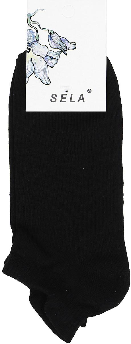 Носки женские Sela, цвет: черный. SOb-154/058-7371. Размер 19/21SOb-154/058-7371Укороченные женские носки Sela изготовлены из высококачественного приятного на ощупь материала. Благодаря содержанию мягкого хлопка в составе, кожа сможет дышать, а эластан позволяет носкам легко тянуться, что делает их комфортными в носке. Мягкая эластичная резинка плотно облегает ногу, не сдавливая ее, и обеспечивает комфорт и удобство. Уважаемые клиенты! Размер, доступный для заказа, является длиной стопы.