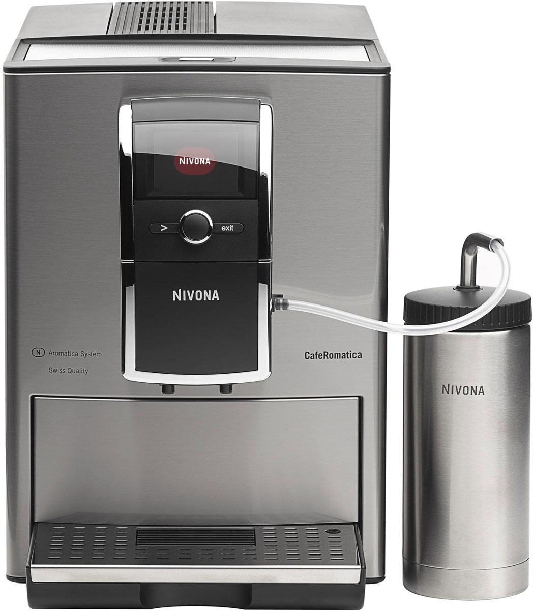 Nivona CafeRomatica NICR 858 кофемашинаТВОС-00688NIVONA CafeRomatica 858 зарекомендовала себя в качестве прекрасной кофемашины. Первоклассная модель серии 8 выделяется своим элегантным и классическим дизайном, техническим превосходством и максимальным удобством использования.Система Spumatore Duo позволяет приготовить две чашки капучино одновременно нажатием всего лишь одной кнопки. В памяти устройства можно сохранить до 10 индивидуальных рецептов приготовления кофе. Цветные графические элементы и текст на четком сенсорном TFT-дисплее обеспечивают безупречную работу с управлением всего лишь посредством одного переключателя: поверните - нажмите - наслаждайтесь кофе. Программы для очистки, удаления накипи и полоскания, запускаемые одним нажатием кнопки, а так же функция статистики и мониторинга необходимости технического обслуживания обеспечат легкий уход за кофемашиной. Режим ECO и выключатель помогают достигнуть почти нулевого потребления энергии. Стильный дизайн кофемашины дополняет двухцветная подсветка чашки.