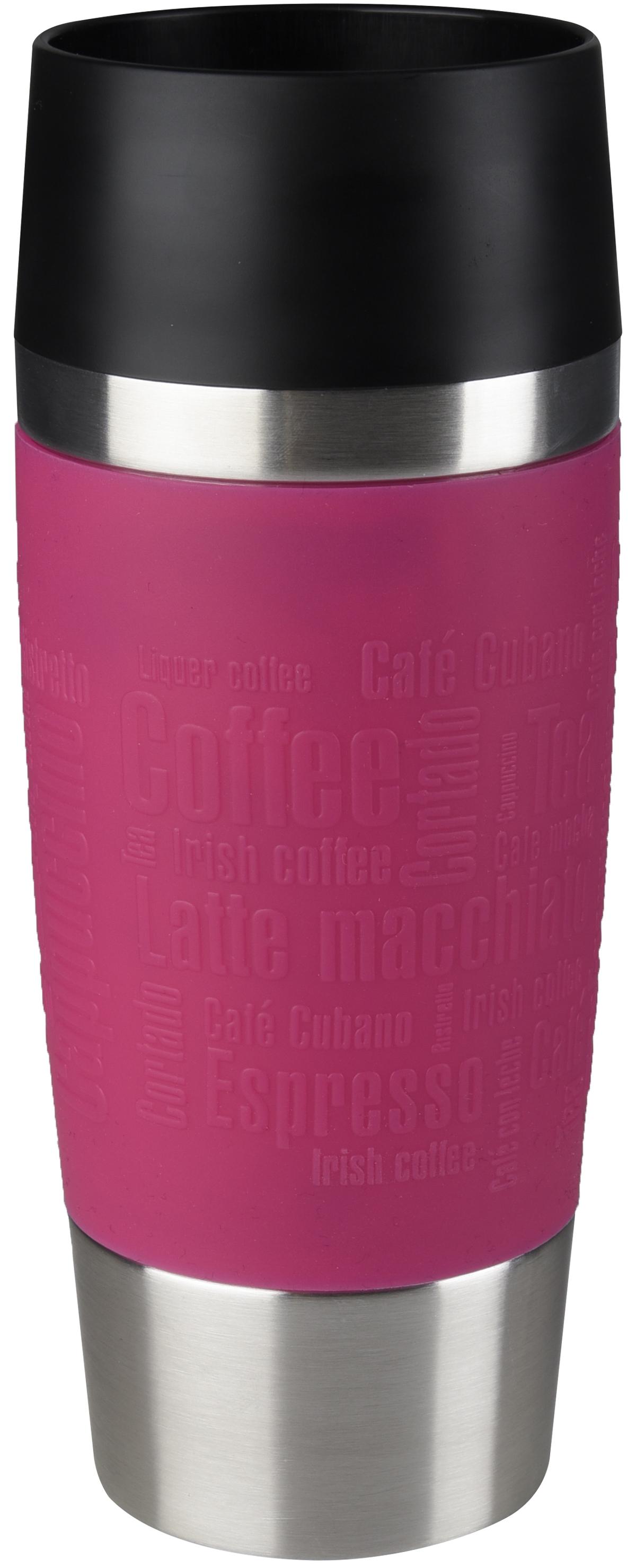 Термокружка Emsa Travel Mug, цвет: розовый, 360 мл513550Термокружка Emsa Travel Mug - это идеальный попутчик в дороге - не важно, по пути ли на работу, в школу или во время похода по магазинам. Вакуумная кружка на 100% герметична. Кружка имеет вакуумную колбу из нержавеющей стали с двойными стенками, благодаря чему температура жидкости сохраняется долгое время. Кружку удобно держать благодаря силиконовому покрытию Soft Touch с оригинальным рельефом в виде надписей. Изделие открывается нажатием кнопки. Пробка разбирается и превосходно моется. Дно кружки выполнено из противоскользящего материала. Можно мыть в посудомоечной машине. Диаметр кружки по верхнему краю: 8 см.Диаметр дна кружки: 6,5 см.Высота кружки: 20 см.Сохранение холодной температуры: 8 ч.Сохранение горячей температуры: 4 ч.