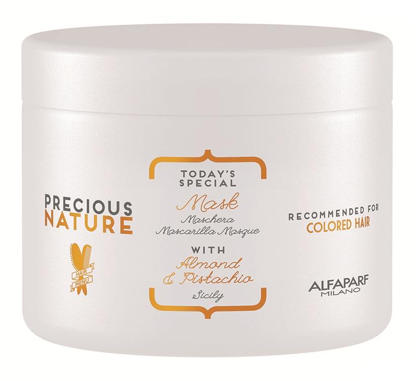 Alfaparf Precious Nature Pure Color Protection Mask Маска для окрашенных волос, 500 мл12522Интенсивное восстановление для непревзойденной защиты окрашенных волос. Входящая в состав маски эссенция фисташки*, известная своими редкими антиоксидантными и фотозащитными свойствами, в сочетании с маслом сладкого миндаля позволяют уникальной формуле спрея продлить насыщенность цвета и сохранить блеск окрашенных волос, питая и насыщая фибру волоса. *100% натуральный ингредиент. НЕ СОДЕРЖИТ: сульфатов, парабенов, парафинов, минеральных масел, синтетических веществ, аллергенов *гипоаллергенные экстракты растений и ароматизаторы Объем: 500 мл