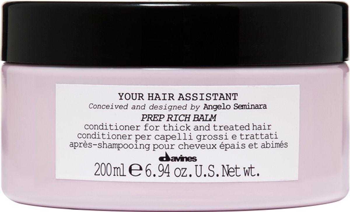 Davines Your Hair Assistant Prep Rich Balm Интенсивный кондиционер для подготовки волос к укладке для плотных волос, 200 мл88004Изначально я задумал создать один кондиционер. Но во время тестирования мы поняли, что мягкий кондиционер получился необыкновенно легким и не подходит для всех типов волос. Поэтому мы немедленно начали разработку формулы интенсивного кондиционера - превосходного продукта для толстых или поврежденных волос. Анджело Семинара.Питательный кондиционер для плотных, обезвоженных или чувствительных поврежденных волос. Глубоко питает волосы, не перегружая их. Придает волосам плотность, мягкость и шелковистость, облегчает процесс расчесывания. Без парабенов.Объем: 200 мл