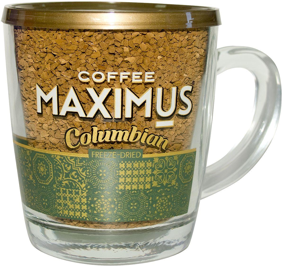 Maximus Columbian кофе растворимый в стеклянной кружке, 70 г капсулы tassimo milka