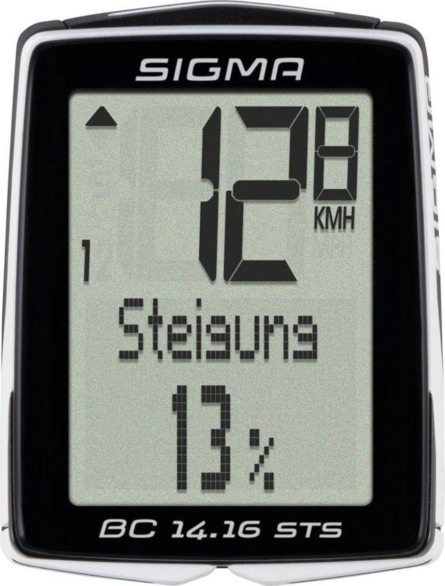 Велокомпьютер Sigma Topline BC 14.16 STS, 14 функцийSIG_01417Особенности: 2 размера колес; автоматический старт / стоп; автоматическое распознавание велосипедов; автоматическое сопряжение; резервная функция микросхемы памяти (общая и установка значений); передача данных с помощью док-станции topline 2016 года; цифровое радио; режим экономии энергии; подсветка; связь со смартфоном (android) через NFC; 7 языков; статистика тренировок на 12 месяцев.Функции: текущая скорость; средняя скорость; время вождения; максимальная скорость; время (12/24); общее время в пути; общий прирост высоты; общее расстояние для двух колес; текущая температура.Функции высотомера: текущий уровень; текущий наклон / склонение; высота профиля.В комплект входит: ATS держатель / STS 2032; мощный магнит; датчик скорости STS; 2 уплотнительных кольца (диаметр 35 мм, 45 мм).Гид по велоаксессуарам. Статья OZON Гид