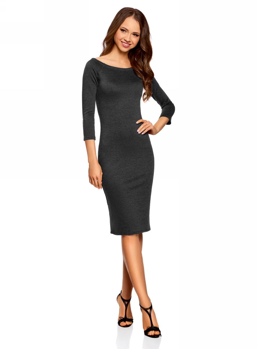 Платье oodji Ultra, цвет: темно-серый меланж. 14017001-1B/37809/2500M. Размер L (48)14017001-1B/37809/2500MСтильное обтягивающее платье oodji Ultra, выгодно подчеркивающее достоинства фигуры, изготовлено из качественного эластичного материала. Модель миди-длины выполнена с вырезом-лодочкой и рукавами 3/4.