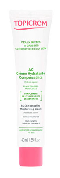 Topicrem АС Крем компенсирующий, увлажняющий, 40 млT0053АК крем компенсирующий увлажняющий специально разработан для жирной кожи, пересушенной в результате дерматологического лечения. Рекомендован для подростков и взрослых. Увлажняющие и успокаивающие активные ингредиенты выбраны для максимальной эффективности и переносимости. Сочетание липидного комплекса, глицерина и пчелиного воска восстанавливает гиддролипидную пленку, алланотин уменьшает покраснение. Средство делает кожу эластичной и возвращает комфорт.