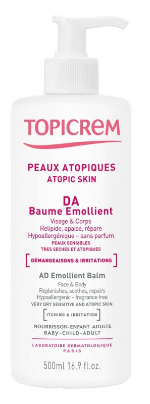Topicrem АД Бальзам липидовосстанавливающий для атопичной кожи, 500 млYT-037Разработан для ухода за очень сухой чувствительной и атопичной кожей младенцев, детей и взрослых. Восстанавливает гидролипидную пленку, успокаивает, увлажняет и смягчает кожу. Содержит льняное масло (насыщает необходимыми жирными кислотами омега 3 и 6, восстанавливает гидролипидную пленку), и аллантоин (уменьшает раздражения, зуд, ощущение покалываний). Нежирная и нелипкая текстура. Быстро впитывается. Без ароматизаторов, красителей, парабенов. Гипоаллергенно.
