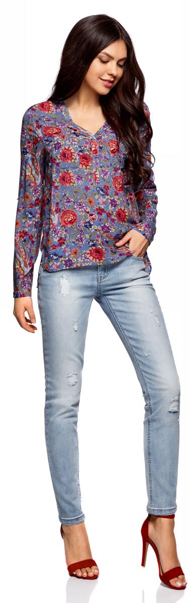 Блузка женская oodji Ultra, цвет: синий, красный. 11411049-1M/42127/7545F. Размер 42 (48-170)11411049-1M/42127/7545FМодная женская блузка oodji изготовлена из высококачественного материала. Модель с длинными рукавами застегивается сверху на пуговицы. Спинка длиннее переда.