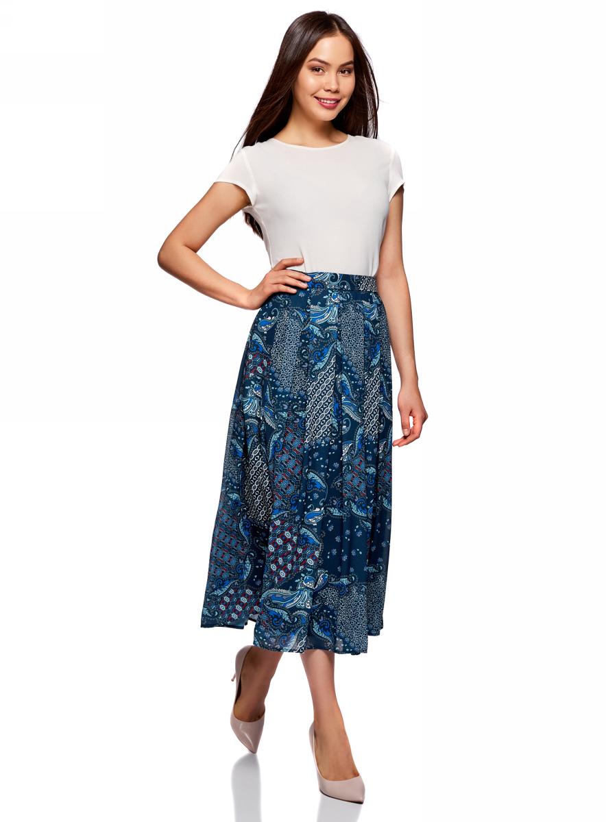 Юбка oodji Collection, цвет: темно-синий, красный. 21600285-2M/17358/7945E. Размер 44 (50-170) юбка alina assi цвет красный