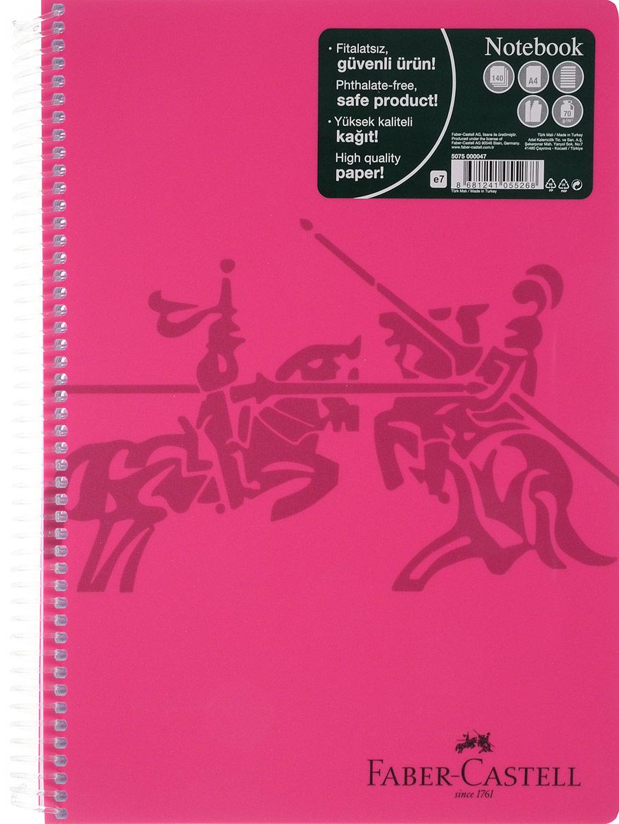 Faber-Castell Блокнот Knight 140 листов в линейку цвет розовый507047_розовыйОригинальный блокнот Faber-Castell Knight в твердой пластиковой обложке подойдет для памятных записей, любимых стихов и многого другого.Блок состоит из 140 листов в линейку. Блокнот изготовлен со спиралью. Такой блокнот станет не только достойным аксессуаром среди ваших канцелярских принадлежностей, но и практичным подарком для в близких и друзей.