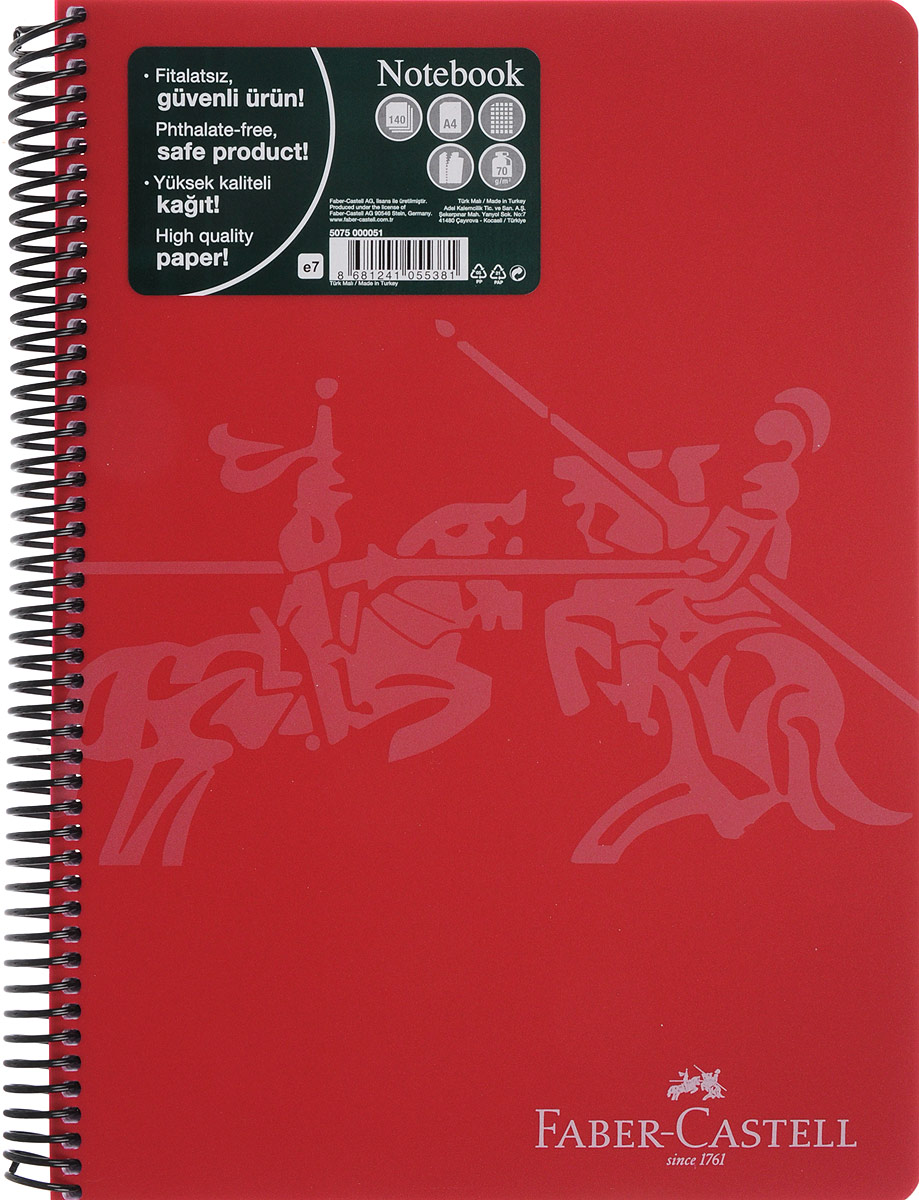 Faber-Castell Блокнот Knight 140 листов в клетку цвет красный507051_красныйОригинальный блокнот Faber-Castell Knight в твердой пластиковой обложке подойдет для памятных записей, любимых стихов и многого другого.Блок состоит из 140 листов в клетку. Блокнот изготовлен со спиралью. Такой блокнот станет не только достойным аксессуаром среди ваших канцелярских принадлежностей, но и практичным подарком для в близких и друзей.