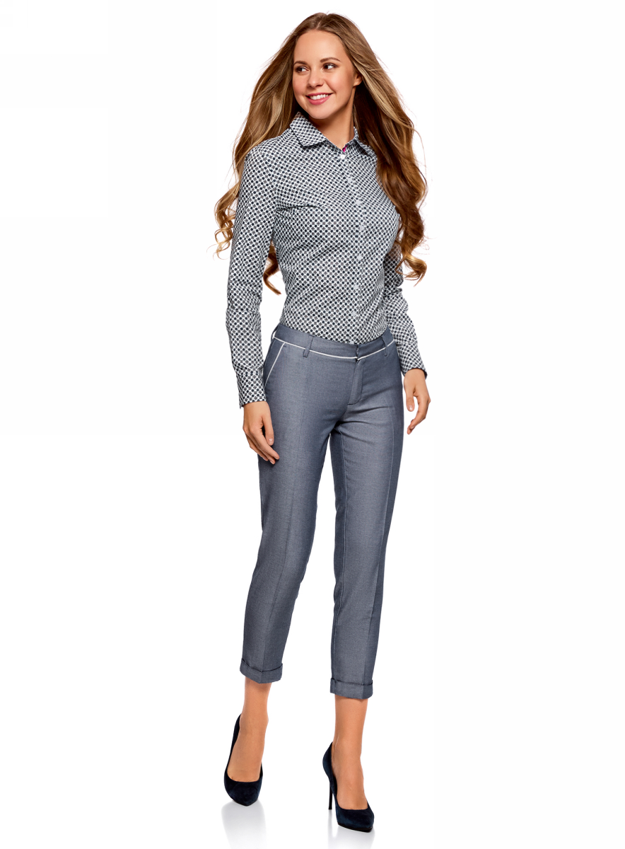 Брюки женские oodji Ultra, цвет: серый, белый. 11703063-6/46602/7910B. Размер 44 (50-170) женские брюки pants 2015 zd44500