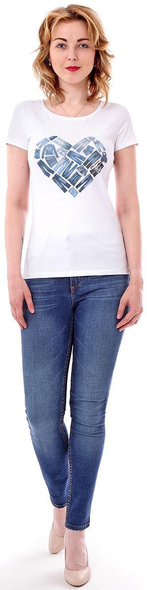 Футболка женская F5, цвет: белый. 170085_12380. Размер M (46)170085_12380/Jeans, TR Porte, whiteЖенская футболка F5, изготовленная из качественного материала, поможет создать модный образ и станет отличным дополнением к повседневному гардеробу. Модель оформлена оригинальным принтом.