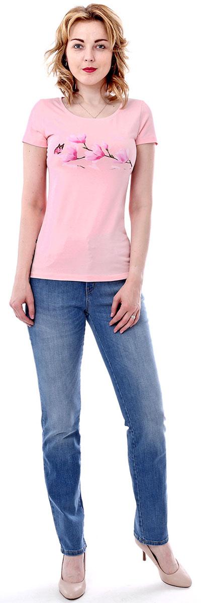 Футболка женская F5, цвет: светло-розовый. 170090_12380. Размер L (48)170090_12380/Blossom, TR Porte, light pinkЖенская футболка F5, изготовленная из качественного материала, поможет создать модный образ и станет отличным дополнением к повседневному гардеробу. Модель оформлена оригинальным принтом.