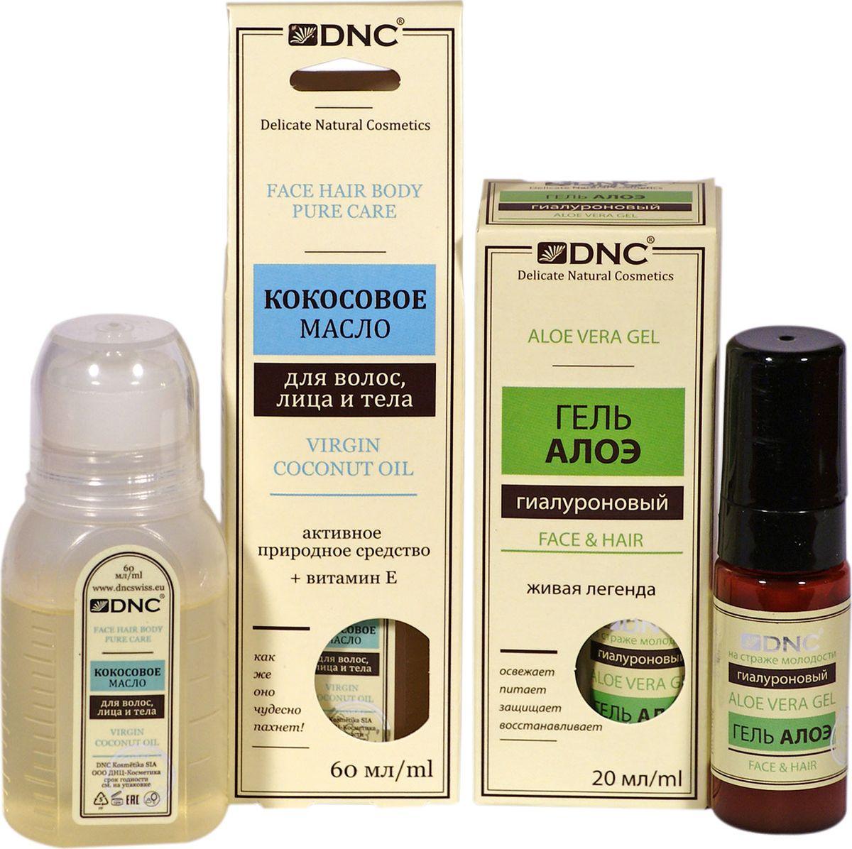 DNC Набор: Кокосовое масло для волос, лица и тела, 60 мл + Гель гиалуроновый Алоэ, 20 мл