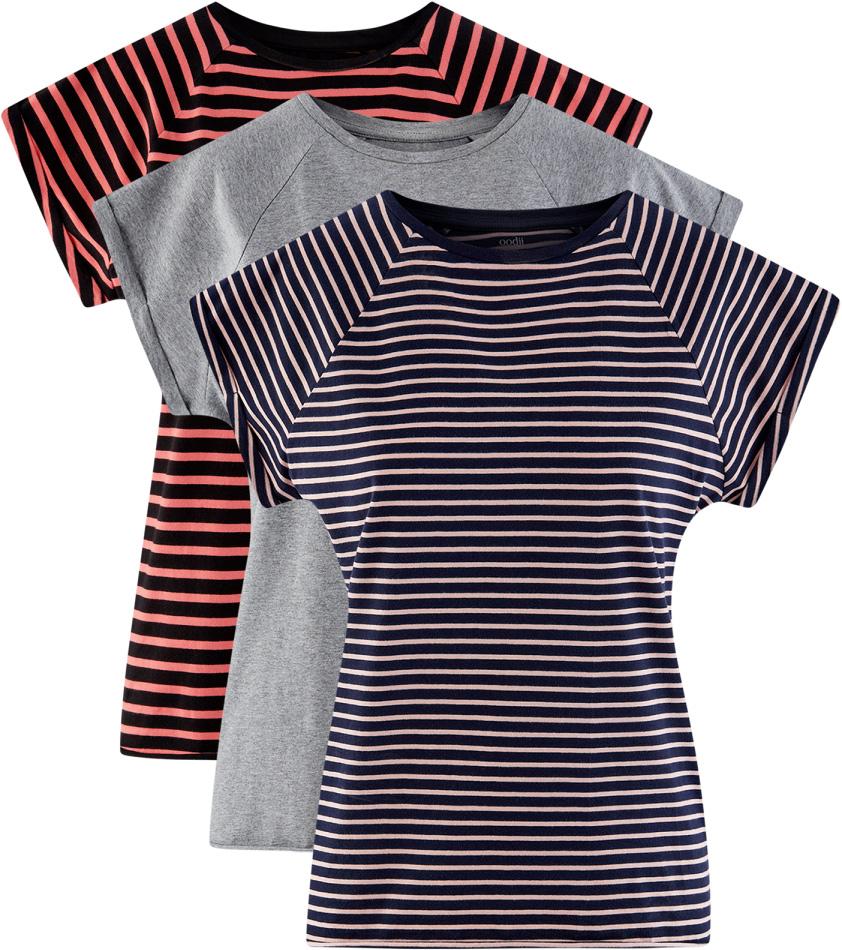 Футболка женская oodji Ultra, цвет: темно-синий, серый, розовый, 3 шт. 14707001T3/46154/19C9S. Размер M (46)14707001T3/46154/19C9SБазовая футболка с короткими рукавами и круглым вырезом горловины выполнена из натурального хлопка. Низ футболки не обработан. В комплекте 3 футболки.