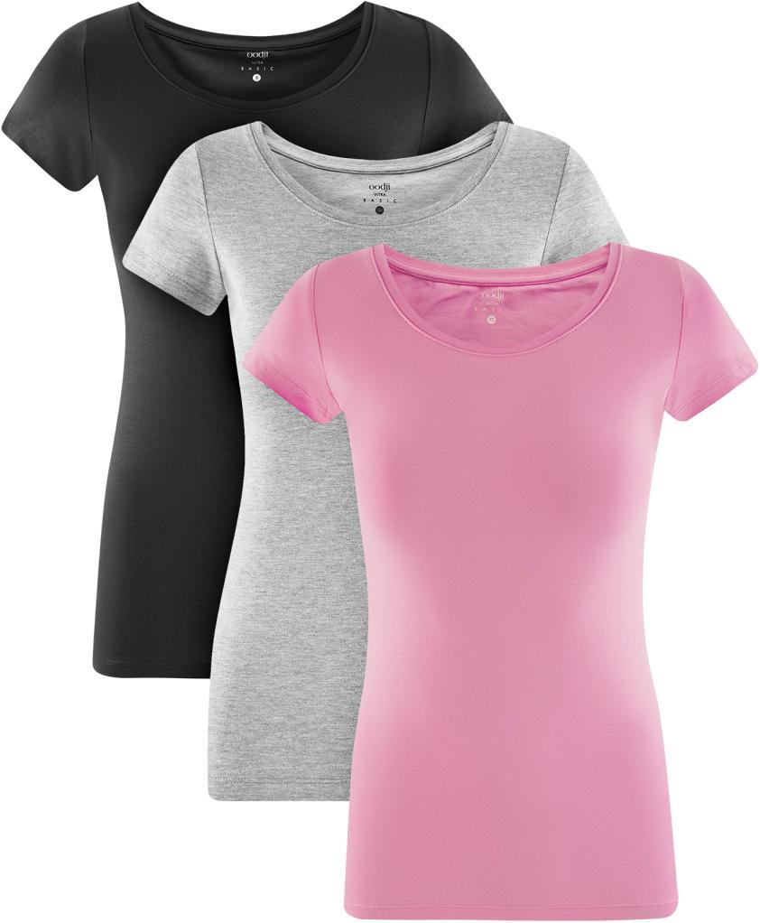 Футболка женская oodji Ultra, цвет: черный, светло-серый меланж, розовый, 3 шт. 14701005T3/46147/19LPN. Размер XL (50)14701005T3/46147/19LPNЖенская футболка oodji Ultra выполнена из эластичного хлопка. Модель с круглым вырезом горловины и короткими рукавами. В комплект входят три футболки.
