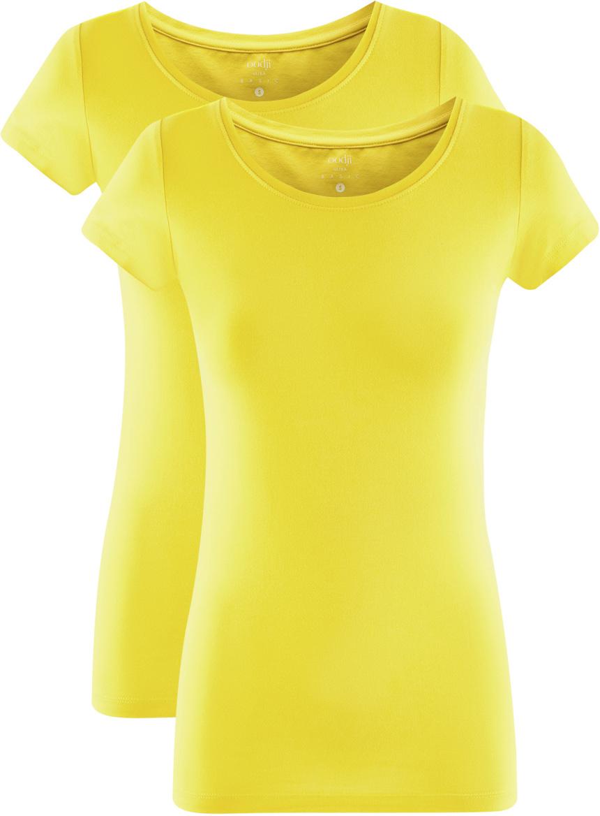 Футболка женская oodji Ultra, цвет: лимонный, 2 шт. 14701005T2/46147/5100N. Размер XL (50)14701005T2/46147/5100NЖенская футболка oodji Ultra выполнена из эластичного хлопка. Модель с круглым вырезом горловины и стандартными короткими рукавами.Комплект из двух футболок - практичное решение для тех, кто ценит удобство. Такая футболка станет основой для создания стильного спортивного комплекта. В ней можно заниматься спортом, гулять с домашним питомцем. Ее удобно носить в качестве домашней одежды. Футболки хорошо сочетаются с трикотажными спортивными брюками, шортами, бриджами, юбками.Прекрасная модель для самых разных случаев!
