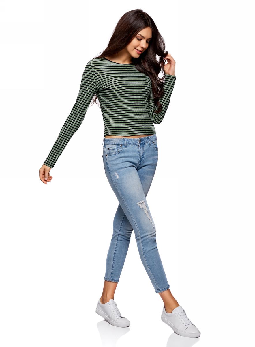 Джемпер женский oodji Ultra, цвет: желто-зеленый, черный. 14201021/46502/6729S. Размер M (46)14201021/46502/6729SДжемпер женский oodji изготовлен из мягкого смесового материала. Укороченная модель выполнена с длинными рукавами и круглой горловиной.