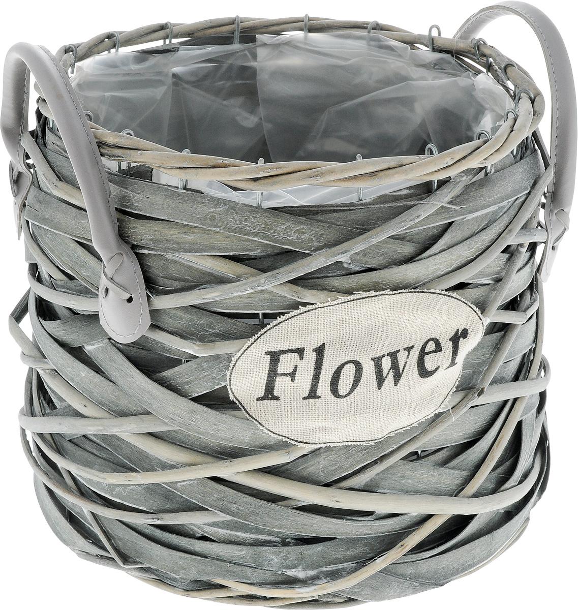 Кашпо Engard Flower, с ручками, 23 х 23 х 22 смZX929-MОригинальное плетеное кашпо с ручками Engard Flower из натурального дерева и ивовой лозы выглядит необычно и стильно. Внутренняя поверхность снабжена полиэтиленом. Металлический каркас и прочное плетение обеспечивают устойчивость. С внешней стороны кашпо дополнено текстильным элементом с надписью Flower. Ручки выполнены из искусственной кожи. Красивое и экологичное кашпо станет прекрасным украшением интерьера. Оригинальный дизайн в стиле прованс создаст уют в доме и оживит интерьер. Высота с учетом ручек: 24 см.Диаметр по верхнему краю: 23 см. Диаметр основания: 24 см.