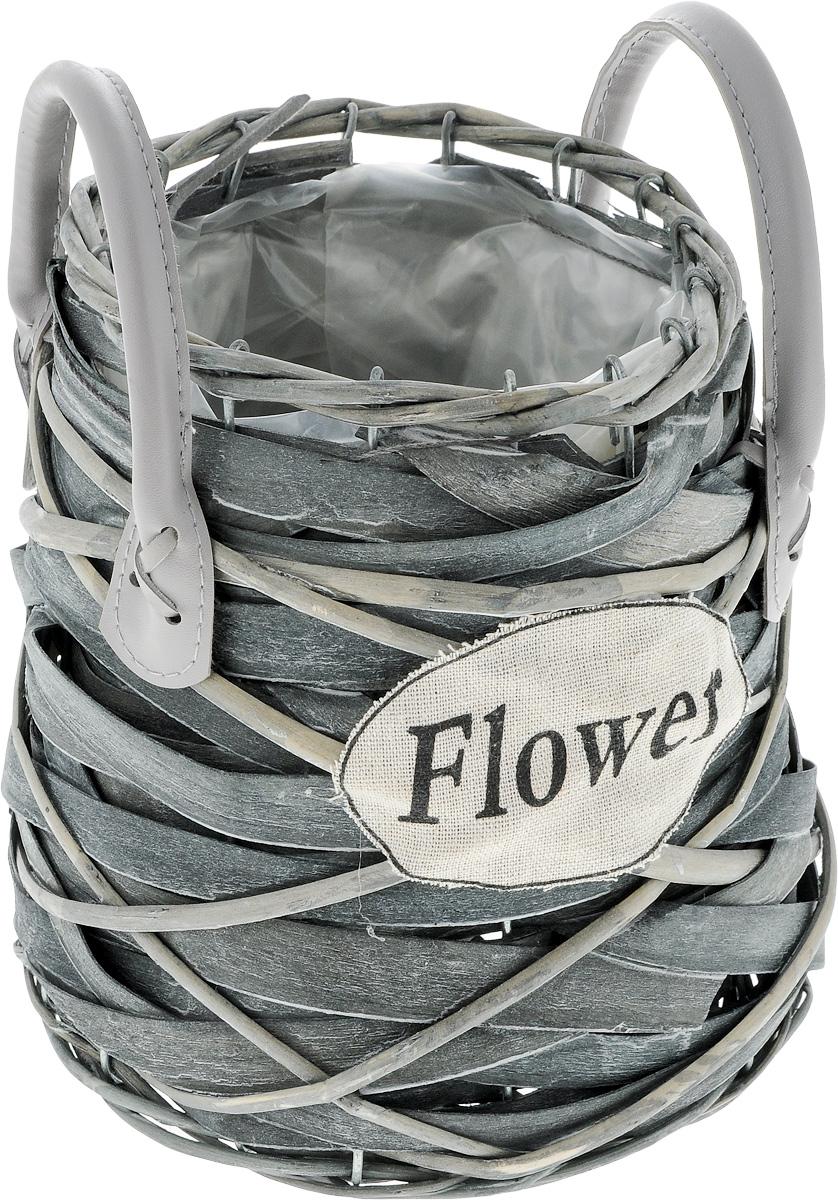 """Оригинальное плетеное кашпо с ручками Engard """"Flower"""" из  натурального дерева и ивовой лозы выглядит необычно и  стильно. Внутренняя поверхность снабжена полиэтиленом.  Металлический каркас и прочное плетение обеспечивают  устойчивость. С внешней стороны кашпо дополнено  текстильным элементом с надписью """"Flower"""". Ручки выполнены  из искусственной кожи.  Красивое и экологичное кашпо станет прекрасным украшением  интерьера. Оригинальный дизайн в стиле прованс создаст уют  в доме и оживит интерьер.  Высота с учетом ручек: 23 см. Диаметр по верхнему краю: 15 см.  Диаметр основания: 17 см."""