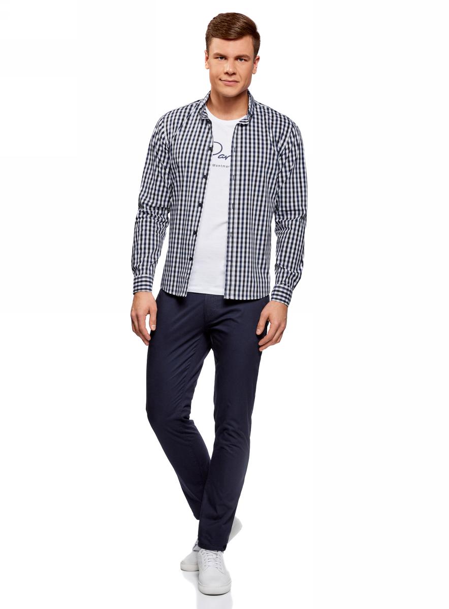 Рубашка мужская oodji Lab, цвет: черный, темно-синий. 3L110214M/39767N/2979C. Размер 43 (54-182)3L110214M/39767N/2979CМужская рубашка от oodji выполнена из качественного материала на основе хлопка. Модель приталенного кроя с длинными рукавамизастегивается на пуговицы.