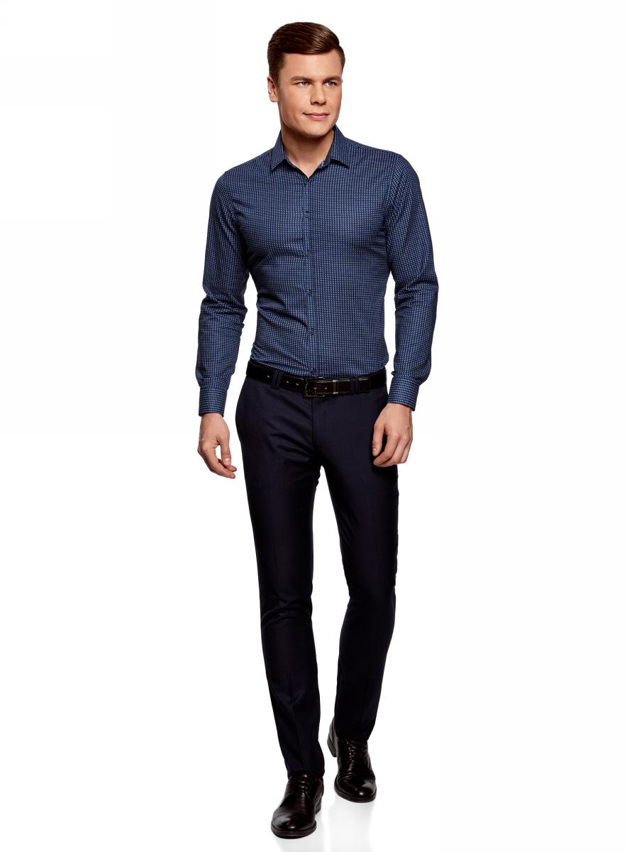 Рубашка мужская oodji Lab, цвет: темно-синий, синий. 3L310143M/46603N/7975G. Размер S (46/48-182) платье oodji collection цвет черный белый 24001104 1 35477 1079s размер l 48