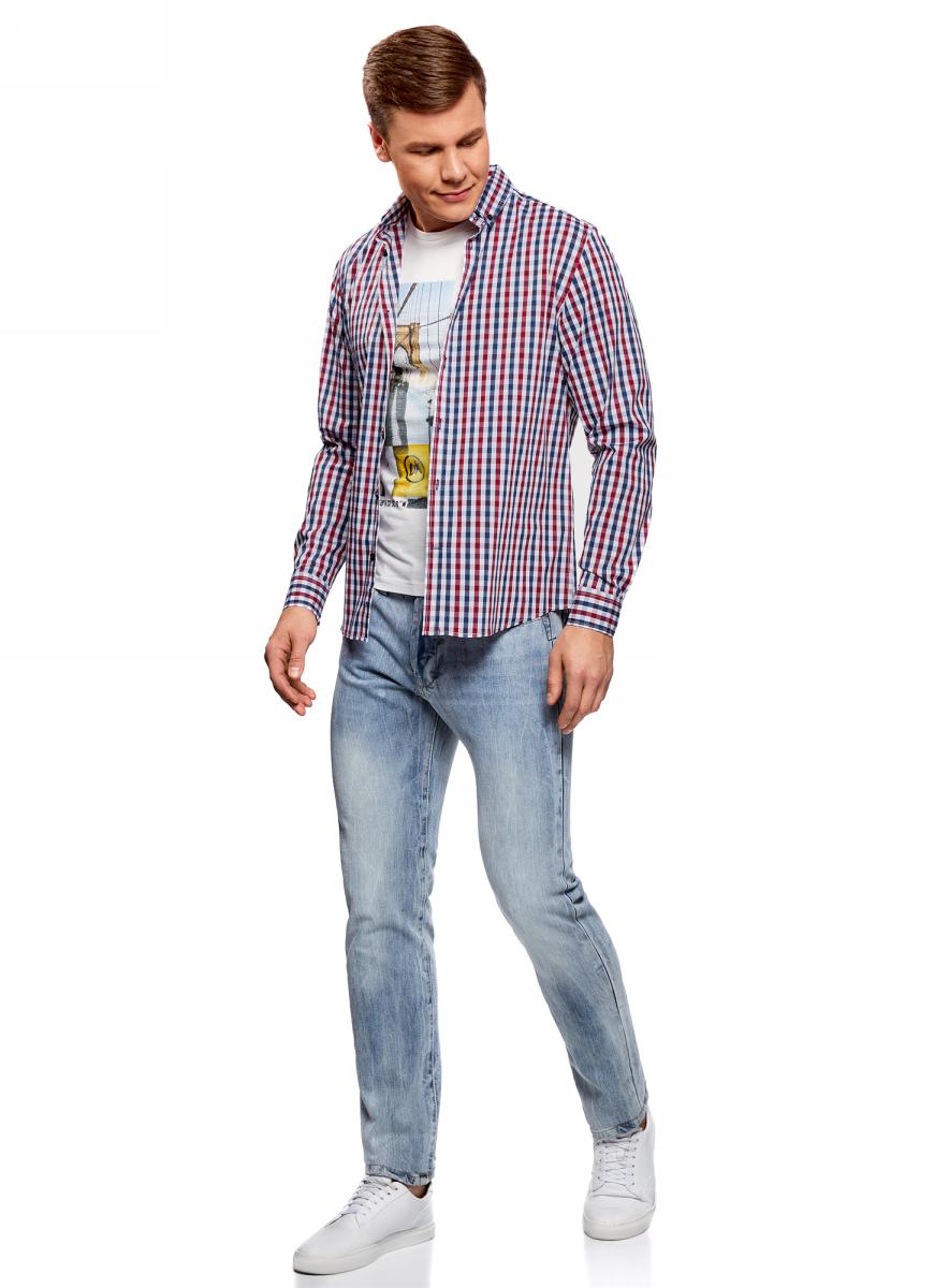 рубашка мужская oodji lab цвет красный темно синий 3l310145m 39511n 4579c размер l 182 52 54 182 Рубашка мужская oodji Lab, цвет: темно-синий, красный. 3L110214M/39767N/7945C. Размер 41 (50-182)