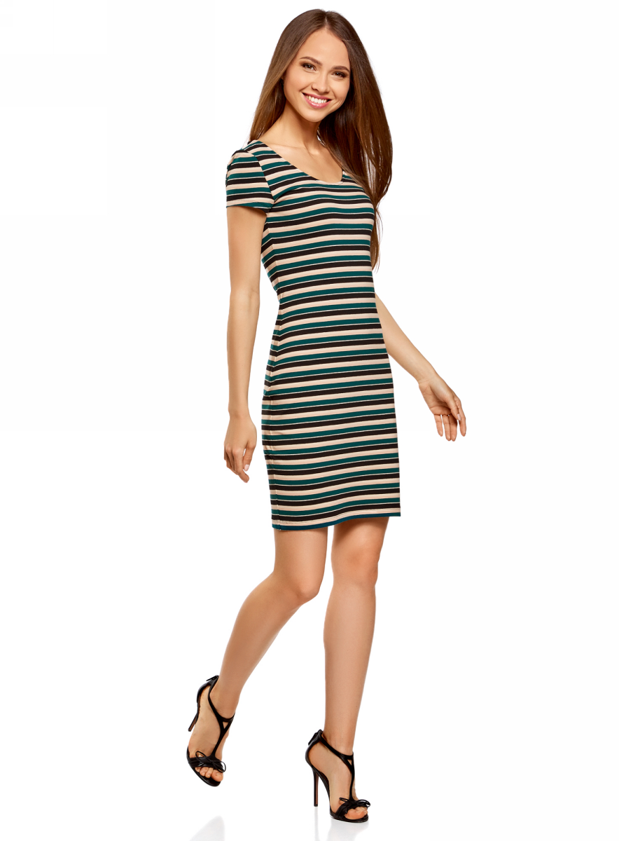 Платье oodji Collection, цвет: темно-изумрудный, черный. 24001082-2B/47420/6E29S. Размер L (48) платье oodji collection цвет черный 73912217 2b 33506 2900n размер l 48