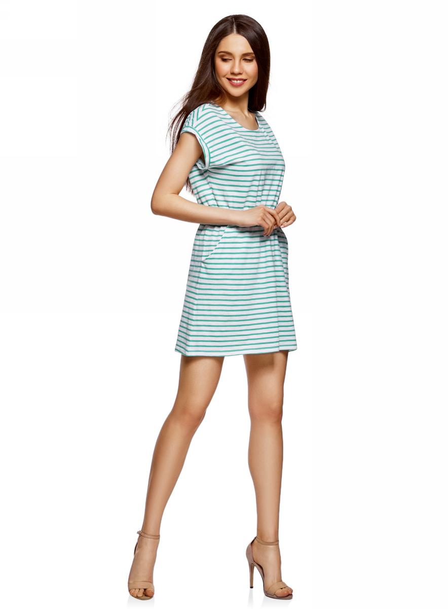 Платье oodji Ultra, цвет: белый, изумрудный. 14008019B/45518/106DS. Размер S (44)14008019B/45518/106DSТрикотажное платье с карманами oodji изготовлено из качественного натурального хлопка. Модель выполнена с круглым вырезом и короткими рукавами. Платье-мини на талии собрано на внутреннюю резинку.