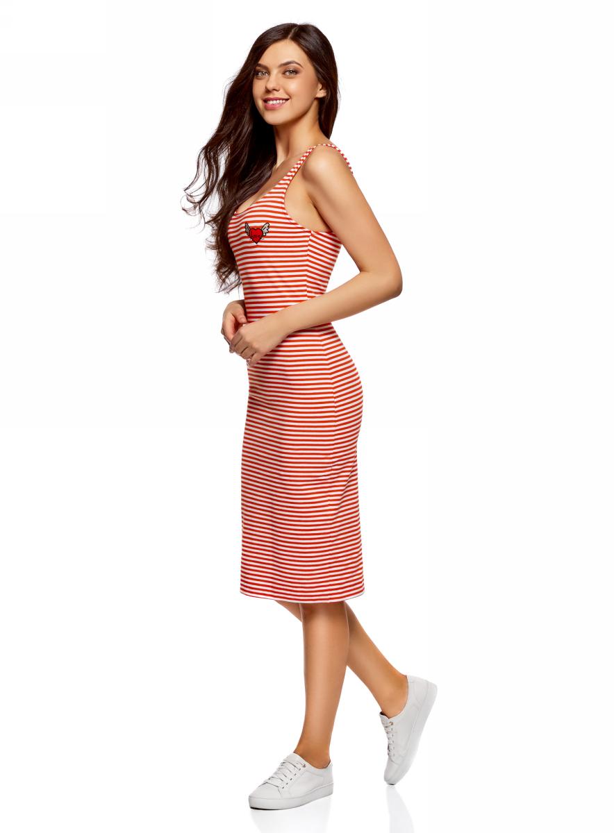 Платье oodji Ultra, цвет: белый, красный. 14015007-7/47420/1045S. Размер XS (42)14015007-7/47420/1045SЛегкое обтягивающее платье oodji Ultra, выгодно подчеркивающее достоинства фигуры, выполнено из качественного эластичного хлопка. Модель миди-длины с круглым вырезом горловины и узкими бретелями дополнена разрезом на юбке с задней стороны. На груди платье дополнено оригинальной аппликацией.